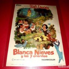 Cine: BLANCANIEVES Y LOS 7 ENANITOS DE WALT DISNEY PUBLICIDAD AL DORSO. AÑO 1937. Lote 209769592
