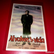 Cine: AL VOLVER A LA VIDA CON BURT LANCASTER PUBLICIDAD AL DORSO AÑO 1947. Lote 209775080
