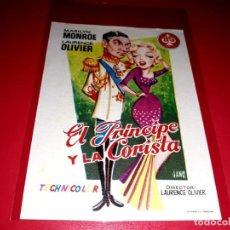 Cine: EL PRINCIPE Y LA CORISTA CON MARILYN MONROE Y LAURENCE OLIVIER PUBLICIDAD AL DORSO AÑO 1957. Lote 209799780