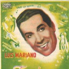 Flyers Publicitaires de films Anciens: PROGRAMA DE CINE - FANDANGO - LUIS MARIANO, LUDMILLA TCHERINA - CINE ALKAZAR (MÁLAGA) - 1949.. Lote 209810943