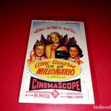 Cine: COMO CASARSE CON UN MILLONARIO CON MARILYN MONROE Y LAUREN BACALL PUBLICIDAD AL DORSO. AÑO 1953. Lote 209852545