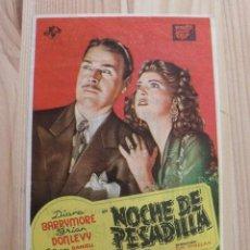 Cine: FOLLETO PROGRAMA MANO PELÍCULA NOCHE DE PESADILLA - DIANA BARRYMORE - BRIAN DONLEVY. Lote 209857930