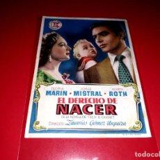 Cine: EL DERECHO DE NACER CON JORGE MISTRAL PUBLICIDAD AL DORSO. AÑO 1952. Lote 209925983