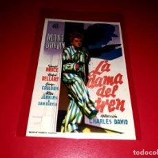 Folhetos de mão de filmes antigos de cinema: LA DAMA DEL TREN CON DIANA DURBIN PUBLICIDAD AL DORSO. AÑO 1945. Lote 209931822