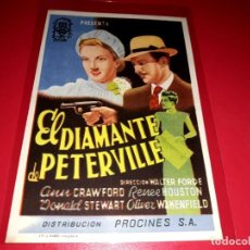 Cine: EL DIAMANTE DE PETERVILLE PUBLICIDAD AL DORSO. AÑO 1943. Lote 209932245
