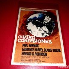 Cine: CUATRO CONFESIONES CON PAUL NEWMAN PUBLICIDAD AL DORSO. AÑO 1964. Lote 209934316