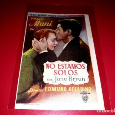 Cine: NO ESTAMOS SOLOS PUBLICIDAD AL DORSO AÑO 1939. Lote 209934855