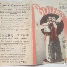 Cine: FOLLETO DE CINE BOLERO PROGRAMA DOBLE CON PUBLICIDAD CINEMA PROYECCIONES 1936. Lote 209958135
