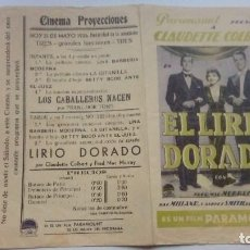 Folhetos de mão de filmes antigos de cinema: FOLLETO DE CINE EL LIRIO DORADO PROGRAMA DOBLE CON PUBLICIDAD CINEMA PROYECCIONES 1936. Lote 209958278