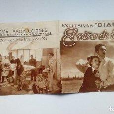 Folhetos de mão de filmes antigos de cinema: FOLLETO DE CINE EL NIÑO DE LAS MONJAS PROGRAMA DOBLE EXCLUSIVAS DIANA DE CINEMA PROYECCIONES 1938. Lote 209958458