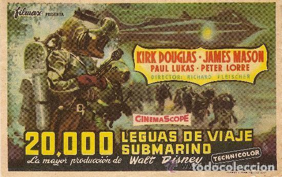 20.000 LEGUAS DE VIAJE SUBMARINO (Cine - Folletos de Mano - Aventura)
