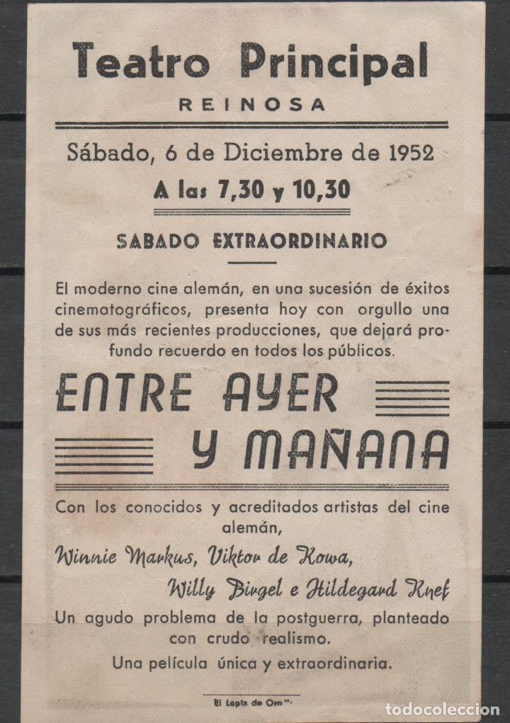Cine: FOLLETO DE MANO DE LA PELICULA ENTRE AYER Y MAÑANA DEL TEATRO PRINCIPAL DE REINOSA DEL AÑO 1952 - Foto 2 - 210002101