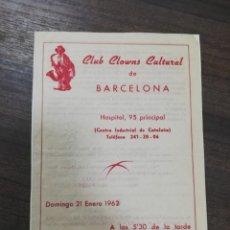 Cine: CLUB CLOWNS CULTURAL DE BARCELONA. 1962.. Lote 210167415