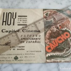 Cine: FOLLETO DE MANO CAUCHO RENE DELTGEN VERA V.LANGEN CAPITOL CINEMA 1941. Lote 210222605