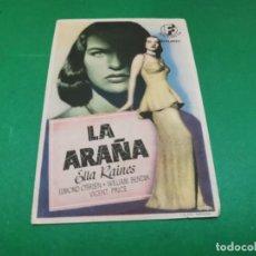 Folhetos de mão de filmes antigos de cinema: PROGRAMA DE MANO ORIG - LA ARAÑA - CINE DE POLIÑA DE JUCAR. Lote 210240165