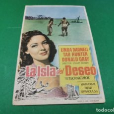 Cine: PROGRAMA DE MANO ORIG - LA ISLA DEL DESEO - CINE DE ALMENDRALEJO. Lote 210246961