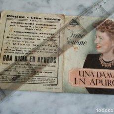 Cine: FOLLETO DE MANO DOBLE - UNA DAMA EN APUROS IRENE DUNNE - PISCINA CINE DE VERANO LIRIA -. Lote 210284672