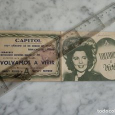 Cine: FOLLETO DE MANO DOBLE - VOLVAMOS A VIVIR JENNY JUGO Y WYLLY FRITSHC - CAPITOL 1947 -. Lote 210285213