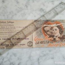 Cine: FOLLETO DE MANO DOBLE - LA VUELTA DEL RUISEÑOR - CINEMA SABOYA 1942 CASTELLON. Lote 210286363