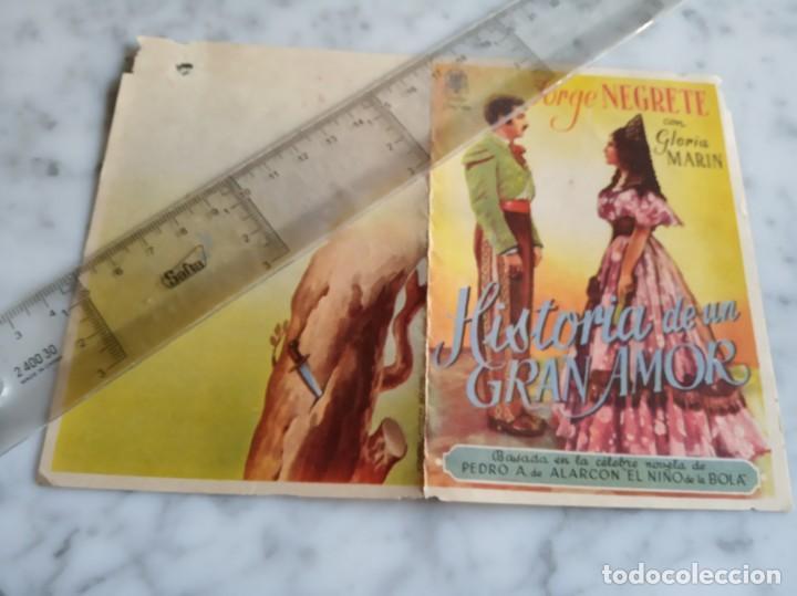 FOLLETO DE MANO DOBLE - HISTORIAS DE UN GRAN AMOR - JORGE NEGRETE GLORIA MARIN - (Cine - Folletos de Mano - Musicales)