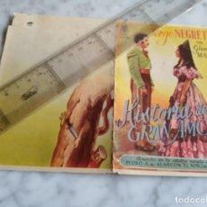 Cine: FOLLETO DE MANO DOBLE - HISTORIAS DE UN GRAN AMOR - JORGE NEGRETE GLORIA MARIN -. Lote 210287640