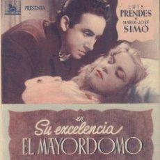 Cine: PROGRAMA DOBLE DE SU EXCELENCIA EL MAYORDOMO (1942) - TEATRO CIRCO DE ALCOY. Lote 210313476