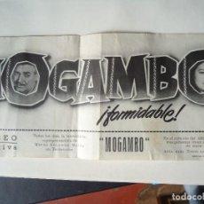 Cine: MOGAMBO DOBLE CON PUBLICIDAD DEL COLIESEO EQUITATIVA PIE GRAFICAS VASCONIA VARIOS PLIEGUES PEUEÑO. Lote 210329991