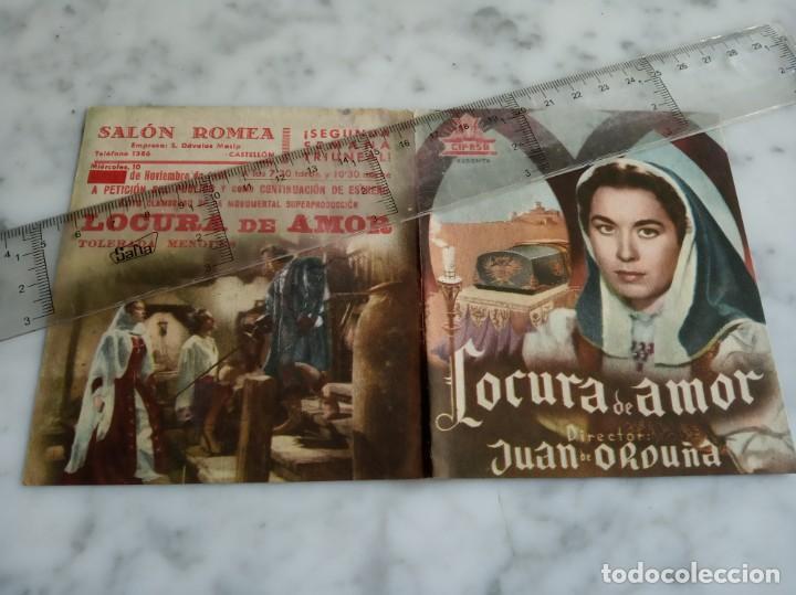 FOLLETO DE MANO DOBLE - LOCURA DE AMOR AURORA BAUTISTA FERNANDO REY - SALON ROMEA 1948 CASTELLON (Cine - Folletos de Mano - Clásico Español)