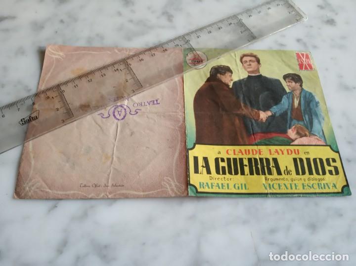 FOLLETO DE MANO DOBLE LA GUERRA DE DIOS -CLAUDE LAYDU FRANCISCO RABAL -TEATRO ALCAZAR NULES CASTELL (Cine - Folletos de Mano - Clásico Español)