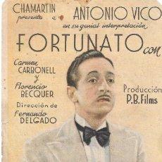 Cine: PN - PROGRAMA DE CINE - FORTUNATO - ANTONIO VICO, CARMEN CARBONELL -TEATRO CERVANTES (MÁLAGA) 1942.. Lote 210373496