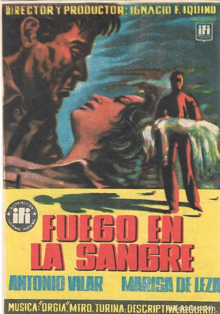 PN - PROGRAMA DE CINE - FUEGO EN LA SANGRE - ANTONIO VILAR, MARISA DE LEZA - PRINCIPAL CINEMA 1954 (Cine - Folletos de Mano - Clásico Español)