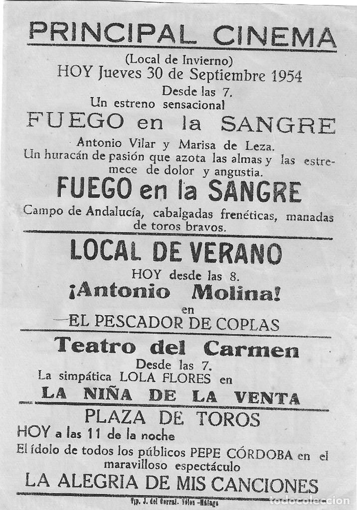 Cine: PN - PROGRAMA DE CINE - FUEGO EN LA SANGRE - ANTONIO VILAR, MARISA DE LEZA - PRINCIPAL CINEMA 1954 - Foto 2 - 210375885