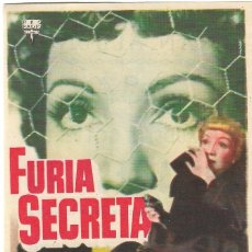 Cine: PN - PROGRAMA DE CINE - FURIA SECRETA - CLAUDETTE COLBERT - GRAN ALBENIZ (MÁLAGA) - 1950.. Lote 210381526