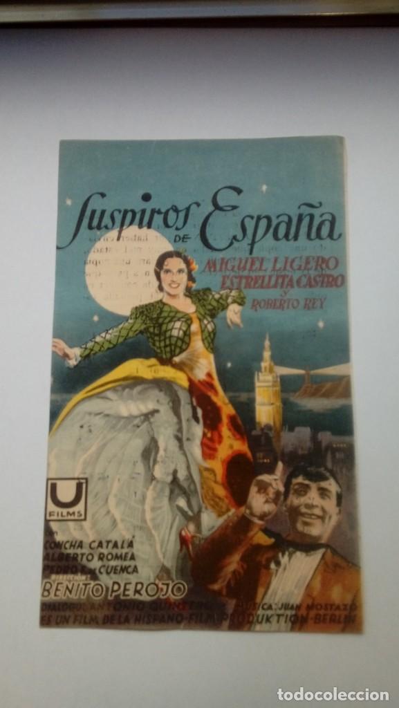 FOLLETO DE CINE SUSPIROS DE ESPAÑA ESTRELLITA CASTRO CON PUBLICIDAD TEATRO PRINCIPAL 1940 (Cine - Folletos de Mano - Clásico Español)