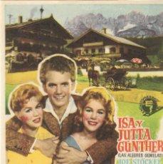 Cine: PN - PROGRAMA DE CINE - GEMELAS EN APUROS - ISA Y JUTTA GÜNTHER - CINE COSO (ZARAGOZA) - 1958.. Lote 210436858