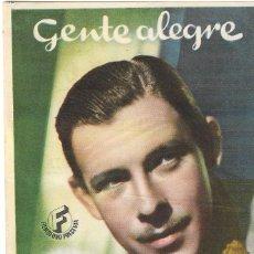 Cine: PN - PROGRAMA DE CINE - GENTE ALEGRE - GEORGE MURPHY, LUCILLE BALL - CINE AVENIDA (LAS PALMAS) 1941. Lote 210441187