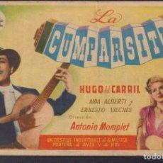 Cine: PROGRAMA SENCILLO DE LA CUMPARSITA (1947) - CINE CERVANTES DE ALBALAT DELS SORELLS. Lote 210443383