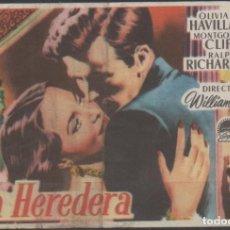 Cine: PROGRAMA DE MANO DE LA PELÍCULA LA HEREDERA DEL CINE MADRID DE REINOSA DEL AÑO 1952. Lote 210454071