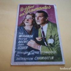 Folhetos de mão de filmes antigos de cinema: PROGRAMA DE MANO ORIG - TRÁFICO DE DIAMANTES- CINE ROBLEDO. Lote 210458841