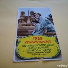 Cine: PROGRAMA DE MANO ORIG - TRES ENAMORADAS - CINE DE TANGER. Lote 210459056