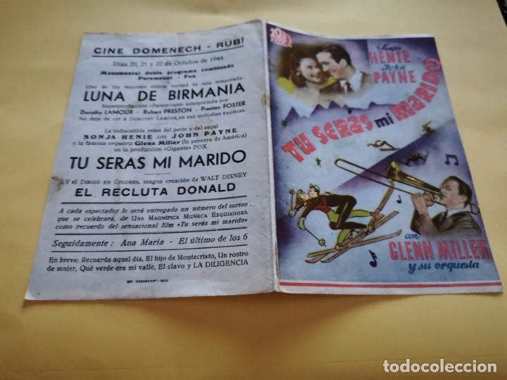 PROGRAMA DE MANO ORIG DOBLE - TÚ SERÁS MI MARIDO - CINE DE RUBÍ (Cine - Folletos de Mano - Comedia)