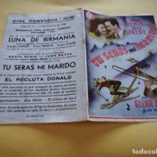 Cine: PROGRAMA DE MANO ORIG DOBLE - TÚ SERÁS MI MARIDO - CINE DE RUBÍ. Lote 210459157