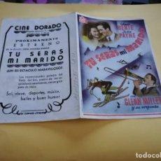 Cine: PROGRAMA DE MANO ORIG DOBLE - TÚ SERÁS MI MARIDO - CINE DE ZARAGOZA. Lote 210459180