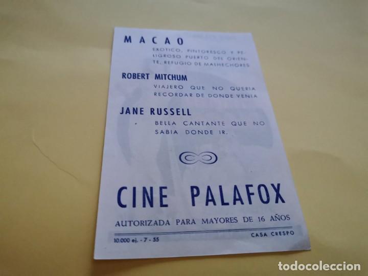 Cine: PROGRAMA DE MANO ORIG - UNA AVENTURERA EN MACAO- CINE DE ZARAGOZA - Foto 2 - 210459255