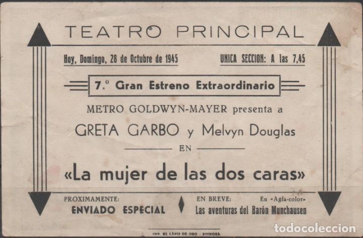 Cine: PROGRAMA DE MANO DE LA PELÍCULA LA MUJER DE DOS CARTAS EL TEATRO PRINCIPAL DE REINOSA DEL AÑO 1945 - Foto 2 - 210459531