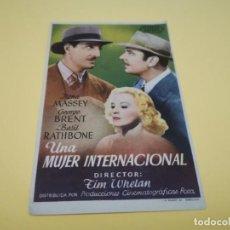 Cine: PROGRAMA DE MANO ORIG - UNA MUJER INTERNACIONAL - CINES CANIGO. Lote 210460762
