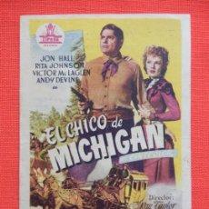 Cine: EL CHICO DE MICHIGAN, IMPECABLE SENCILLO, JON HALL, C/P CINE MAJESTIC TARREGA. Lote 210478813