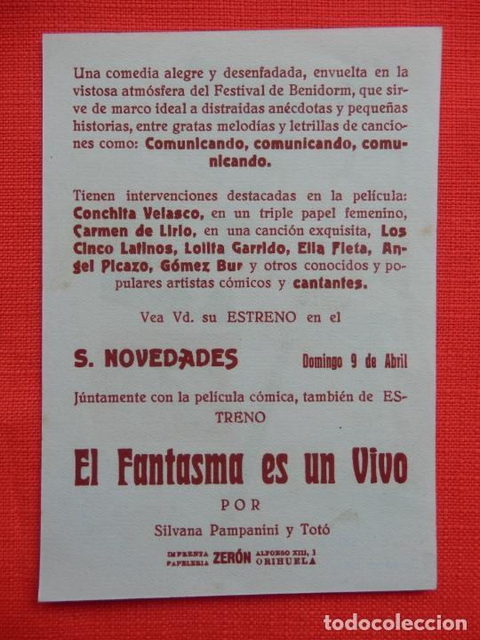 Cine: festival en benidorm, impecable sencillo, conchita velasco, c/p s. novedades - Foto 2 - 210480426