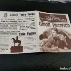 Cine: PROGRAMA DE MANO ORIG DOBLE - UNIÓN PACÍFICO - CINE DE ZARAUZ. Lote 210482941