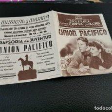 Cine: PROGRAMA DE MANO ORIG DOBLE - UNIÓN PACÍFICO - CINES DE VALENCIA. Lote 210483116